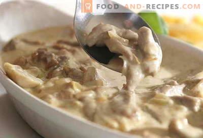 Champignons à la crème sure - les meilleures recettes. Comment cuire correctement et savourer des champignons avec de la crème sure.