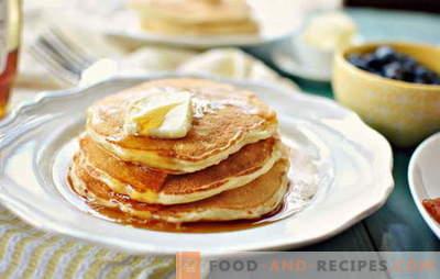 Comment cuisiner et quoi servir avec des pancakes épais sur du kéfir? Que faire cuire pour des crêpes épaisses sur le kéfir