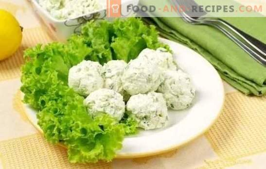 Casse-croûte - délicieux et sain! Recettes pour diverses collations au fromage cottage avec légumes, fromage, bâtonnets de crabe, avocat et chocolat