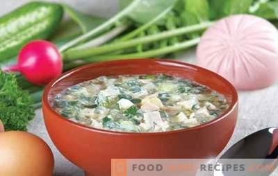 Okroshka classic avec saucisses sur kvas: avec crème sure, kéfir, jus. Recettes simples de okrochka classique avec saucisse au kvas
