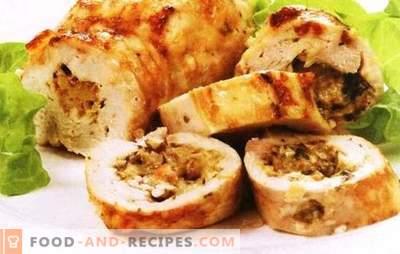 Roulés de poulet aux champignons et au fromage - vous devriez essayer. Envie de faire une surprise - préparez des rouleaux de poulet aux champignons et au fromage