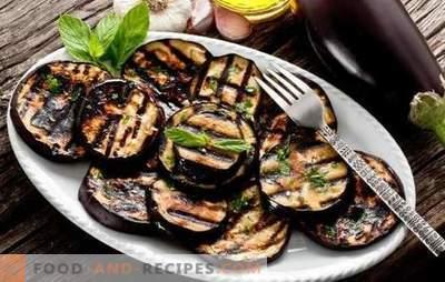 Aubergine sur le gril - une collation saine, un délicieux plat d'accompagnement. Salades et plats à base d'aubergines grillées