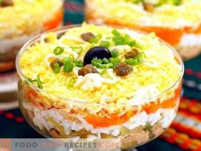 Salade au poisson en conserve - recettes éprouvées. Comment faire cuire une salade avec du poisson en conserve.