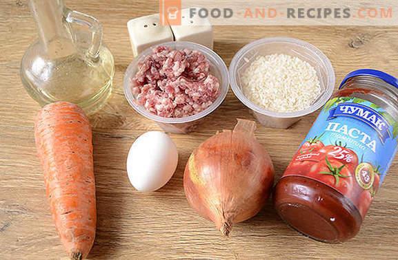 Boulettes de viande avec du riz en sauce: les enfants adorent, les adultes adorent! Photo recette pas à pas de l'auteur de boulettes de viande avec du riz dans une cocotte