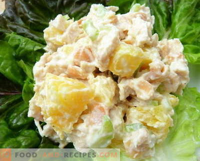 Les meilleures recettes sont les salades de poulet, d'ananas et de champignons. Comment préparer correctement et délicieusement une salade au poulet, à l'ananas et aux champignons