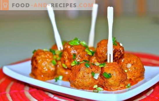 Minuscule et savoureux: boulettes de viande à la sauce tomate. Sur le gril, la casserole et dans les pots - recettes de boulettes de viande à la tomate