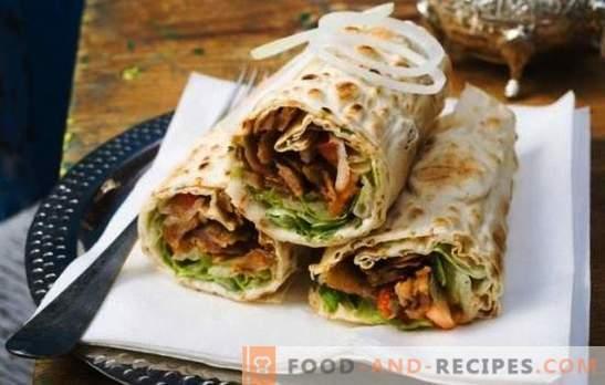 Shawarma avec saucisse - une collation copieuse pour une collation rapide. Comment faire cuire shawarma avec des saucisses: bouilli et fumé