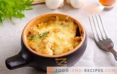 Incroyable julienne: des recettes étape par étape pour votre plat préféré. Julienne française au poulet, champignons frais et séchés