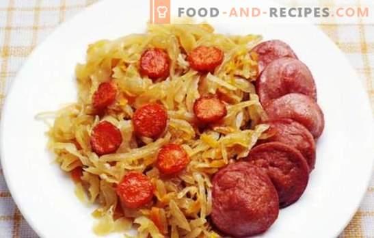 Chou braisé à la saucisse - un plat pour tous les jours. Recettes de chou braisé avec des saucisses au chaudron, au four et à la mijoteuse