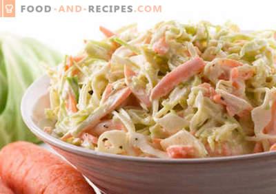 Salade de chou à la mayonnaise - les meilleures recettes. Comment bien et savoureux salade cuite avec du chou et de la mayonnaise.