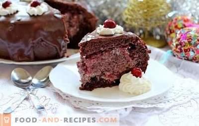 Gâteau éponge aux cerises, chocolat, crème sure, mascarpone, pommes. Recettes air gâteau éponge avec une cerise au four et une cocotte