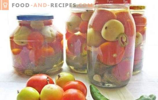 Tomates rouges et vertes aux pommes pour l'hiver: aidez-vous! Recettes de tomates en conserve, salées et marinées avec des pommes pour l'hiver