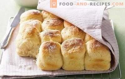 Recette de petits pains sans levure - ils sont si rapides! Recettes faciles et simples pour des petits pains sans levure sur du lait, de l'eau, avec des œufs, de la crème sure