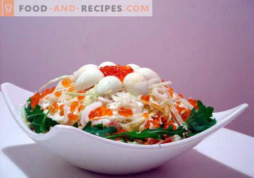 Salade au caviar rouge - les meilleures recettes. Comment cuire correctement et savourer une salade au caviar rouge.
