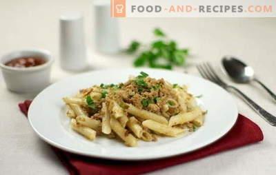 Pâtes marines à la viande hachée - c'est rapide et nutritif! Top 10 des recettes de pâtes à la viande hachée: porc, poulet, collectif
