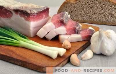 Comment mariner le bacon à l'ail: succès - dans le choix des bonnes matières premières. Recettes simples et complexes pour saler le bacon à l'ail