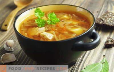 Recettes pour les soupes de chou frais, soupe au chou, bortsch. Poisson et viande