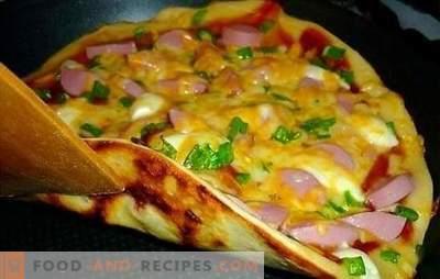 Recette de pizza dans la casserole - original! Les meilleures recettes de pizza dans une casserole de levure, de pâte liquide ou de pomme de terre