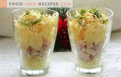 Salade cocktail au jambon - beauté! Recettes pour des salades de cocktails avec jambon et légumes, fromage, maïs, ananas, poulet