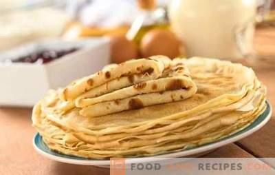 La recette de crêpes est rapide et savoureuse - la meilleure cuisson à la hâte. Une sélection des meilleures recettes de crêpes rapides et savoureuses au lait, à l'eau, au kéfir