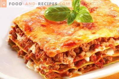 Lasagne - les meilleures recettes. Comment bien et savoureux lasagnes cuites.