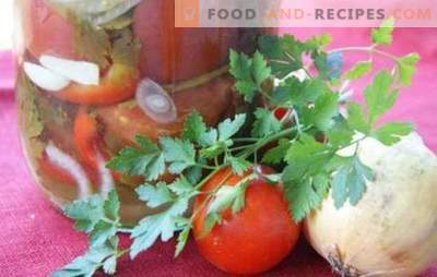 Tomato salad with onions for the winter: a beautiful sweet and spicy composition. A collection of the best salad recipes for the winter with tomatoes and onions