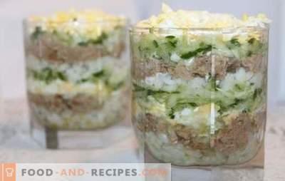Salade de foie de morue avec riz - des options de cuisson pour une collation santé. Recettes pour la salade de foie de morue avec du riz: simple et gonflé