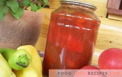Salade de tomates et poivrons pour l'hiver: chaque femme au foyer a sa propre recette! De nombreuses variétés de salade de tomates et poivrons pour l'hiver
