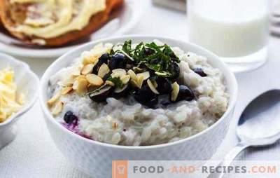 Cuire la bouillie de riz avec du lait au petit-déjeuner. Recettes testées bouillie de citrouille avec du riz, du lait
