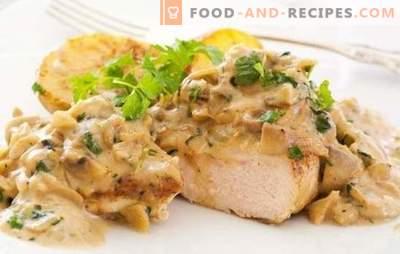 Turquie aux champignons Turquie: ça vaut le coup d'essayer! Recettes simples et originales pour cuire une dinde avec des champignons au four, sur le feu, dans une mijoteuse et des casseroles