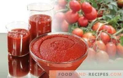 La pâte de tomate pour l'hiver est une conservation universelle. Comment faire cuire de délicieuses pâtes aux tomates pour l'hiver: épaisses et épicées