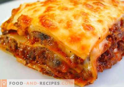 Lasagne Lavash - les bonnes recettes. Comment cuire rapidement et savourer des lasagnes de pita.