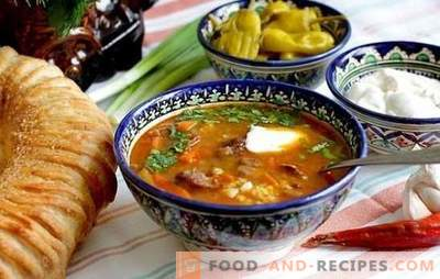 Step-by-step recipe for chicken, lamb or beef kharcho soup. Methods of cooking chicken kharcho soup in a step by step recipe