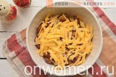 Salade de haricots, craquelins, maïs et fromage
