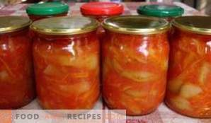 Laitue à base de tomates, poivrons, carottes et oignons pour l'hiver