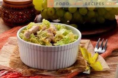 Salades aux raisins et au poulet