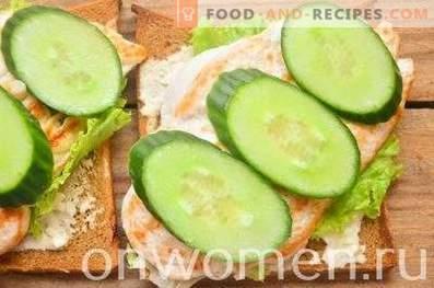 Sandwich au pain de seigle, poitrine et concombre