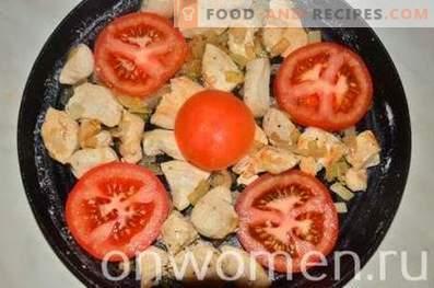 Omelette au poulet et tomates au four