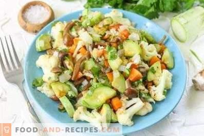 Salades aux champignons sautés