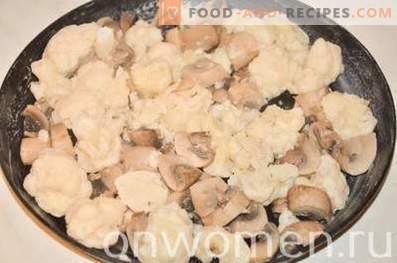 Omelette au chou-fleur et aux champignons au four