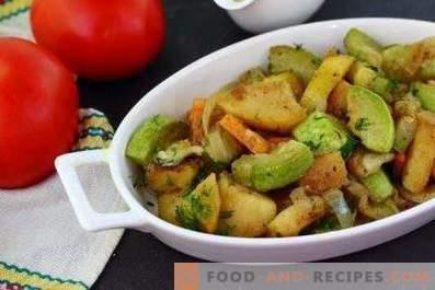 Courgettes cuites avec des pommes de terre