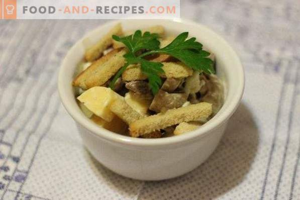 Salade avec viande, champignons et craquelins