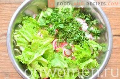 Salade printanière au chou, concombre et radis