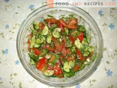 Salades à la tomate et au concombre