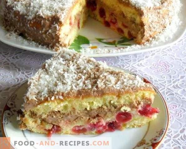 Gâteau aux groseilles avec crème au chocolat et chips de noix de coco