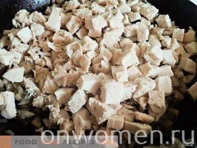 julienne avec poulet et champignons au four