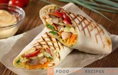 Pork shawarma - royal fast food! Recipes homemade shawarma with pork and vegetables, mushrooms, cheese, cucumbers