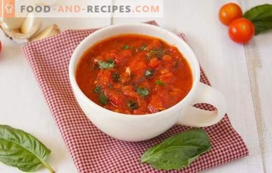Assaisonnement des tomates pour l'hiver: la saveur de la tomate de l'été au réfrigérateur. Comment faire cuire l'assaisonnement de tomates pour l'hiver