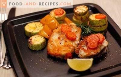 Steak de morue au four - faible en calories, savoureux, élégant. Comment faire cuire un steak de morue au four avec des légumes, une sauce, des champignons, du vin
