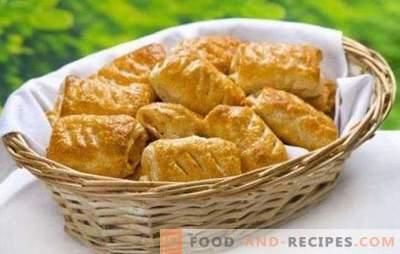 Feuilletés au fromage - de délicieuses pâtisseries parfumées pour le petit-déjeuner ou le dîner. Recettes de pâtés feuilletés au fromage et aux champignons, fromage cottage, baies